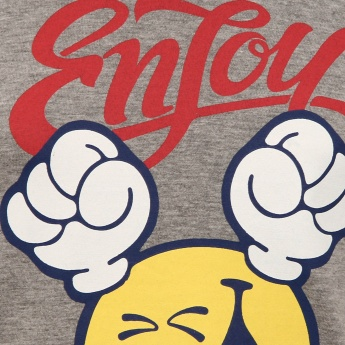 SMILEY WORLD Enjoy Imprint Crew Neck T-Shirt