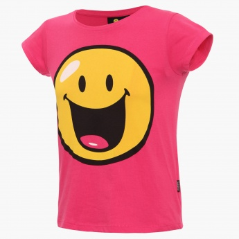 SMILEY WORLD Chest Imprint Round Neck T-Shirt