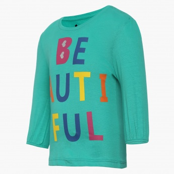 JUNIORS Beautiful Imprint Round Neck Top