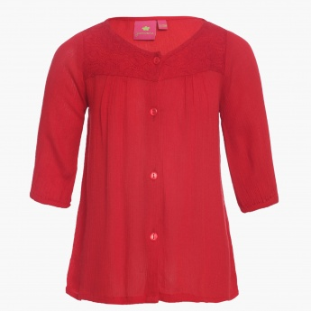 JUNIORS Button Up Blouse