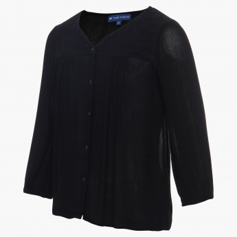 FAME FOREVER Solid Button Down Blouse