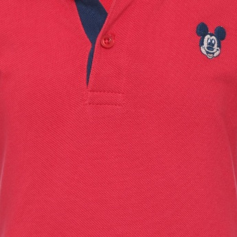 JUNIORS Solid Mickey Mouse Applique Polo T-Shirt
