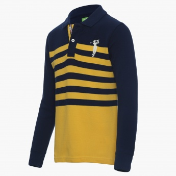 BOSSINI Striped Ribs Full Sleeves Polo Neck Tee