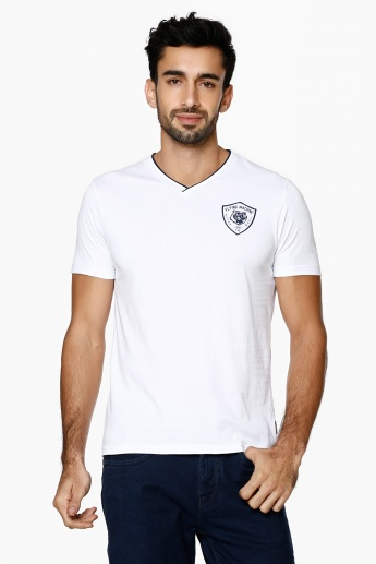 FLYING MACHINE Solid V-Neck T-Shirt
