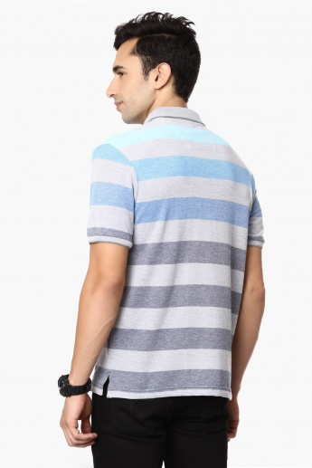 FAHRENHEIT Striped Polo Neck T-Shirt