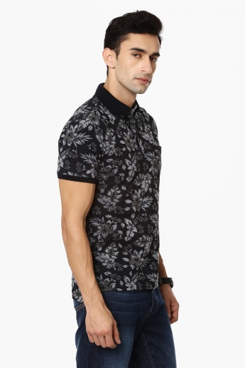FAHRENHEIT Tropical Print Polo Neck T-Shirt