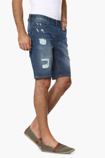 UNITED COLORS OF BENETTON Distressed Denim Shorts