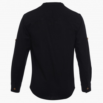 ALLEN SOLLY Solid Henley Collar T-Shirt