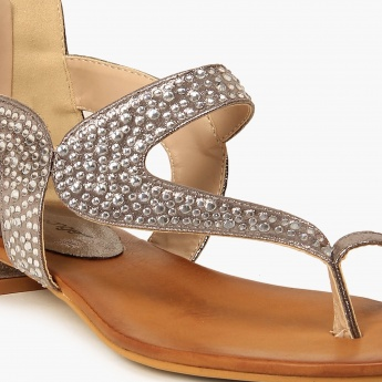 MELANGE Embellished Ankle Zip Sandals