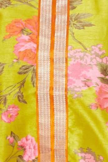 FUSION BEATS Floral Print 3/4th Sleeves Kurti