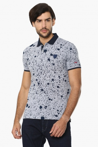 BEING HUMAN Paint Splatter Print Polo T-Shirt