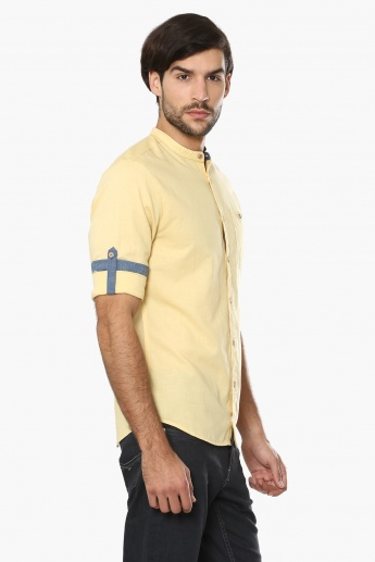 JACK & JONES Solid Band Collar Shirt