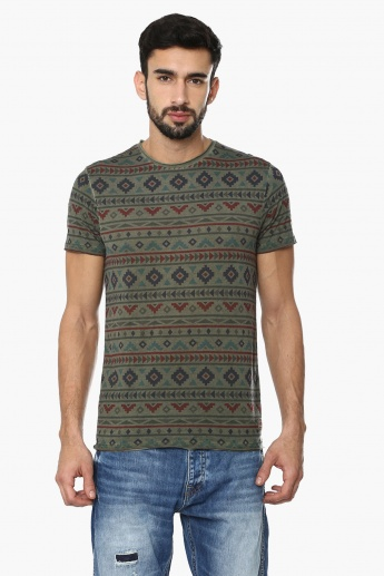 JACK & JONES Aztec Print Crew Neck T-Shirt