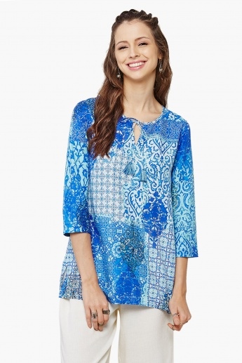 GLOBAL DESI Printed Tie-Up Neck Blouse