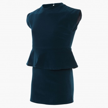 UNITED COLORS OF BENETTON Solid Peplum Dress