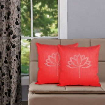 Lotus embellished cushion covers