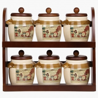 HOME CENTRE Garden Banquet 6 Storage Containers With Wooden Stand