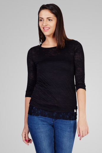 ONLY Textured 3/4th Sleeves Top