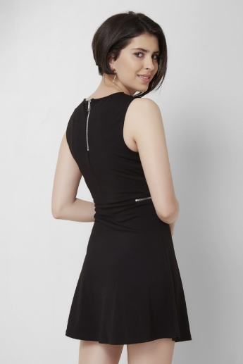 ONLY Solid Round Neck Sleeveless A-Line Dress