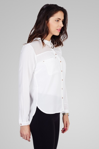 ONLY Solid Full Sleeves Chest Pocket Shirt