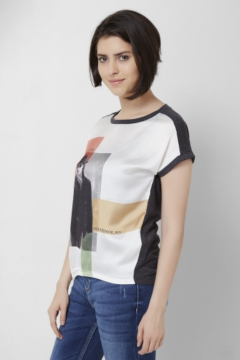 ONLY Printed Round Neck Boxy Top