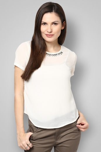 ONLY Solid Embellished Round Neck Half Sleeves Top