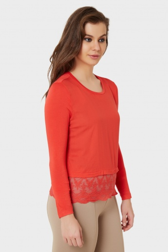 ONLY Laced Hem Solid Top