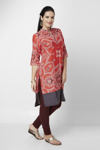 W Printed Band Collar 3/4th Sleeves Kurta
