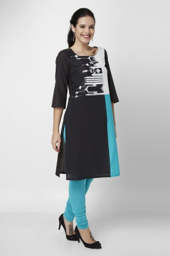 W Printed Square Neck 3/4th Sleeves Kurta