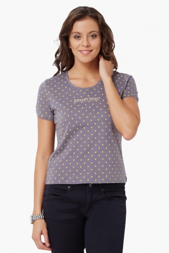 UNITED COLORS OF BENETTON Scoop Neck Printed T-Shirt