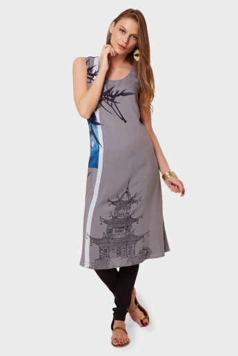 W Sleeveless Printed Kurta