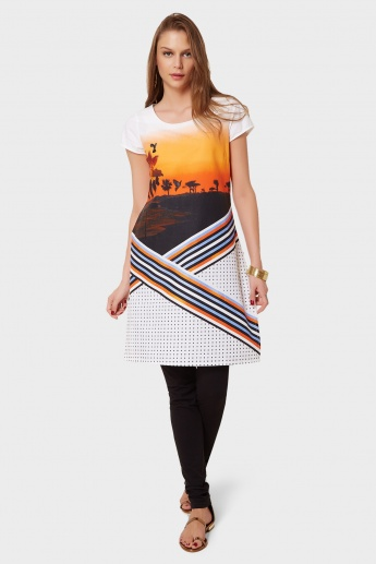 W Sunset Dock Printed Kurti