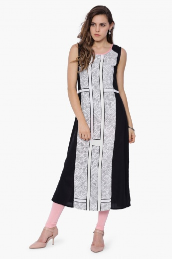W Printed Sleeveless Long Kurta