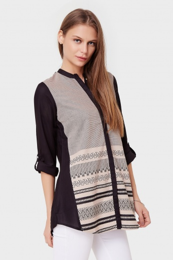 W Printed Roll-Up Sleeves Kurti