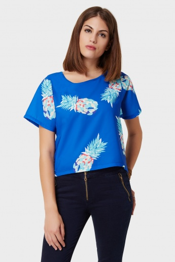 UNITED COLORS OF BENETTON Pineapple Print Crop Top