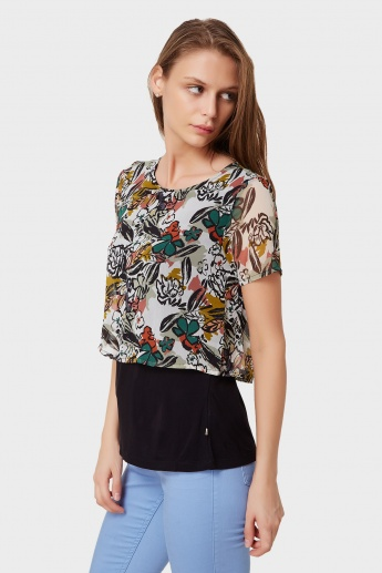 UNITED COLORS OF BENETTON Printed Layered Top