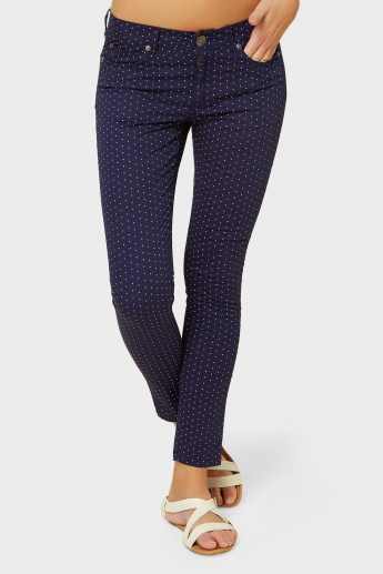 UNITED COLORS OF BENETTON Printed Slim Fit Button-Up Pants