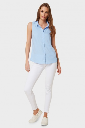 UNITED COLORS OF BENETTON Solid Sleeveless Button-Up Blouse
