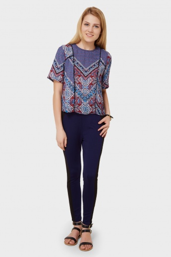GINGER Printed Half Sleeves Boxy Top