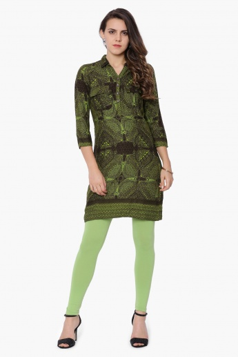 GLOBAL DESI Printed Shirt Collar Kurti
