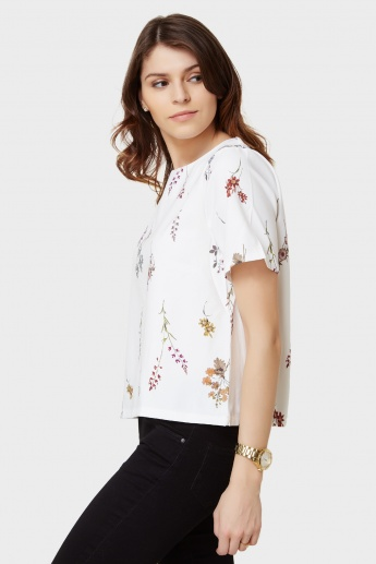 GINGER Floral Print Round Neck Top