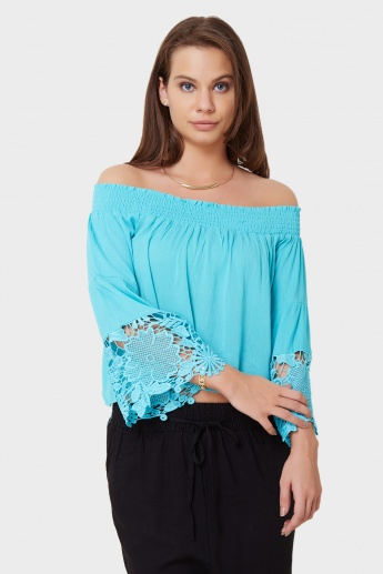 GINGER Off Shoulder Lacy Cuffs Top