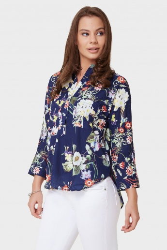 GINGER Floral Print Band Collar Blouse