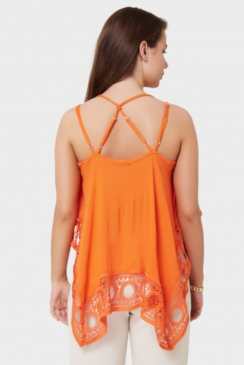 GINGER Lacy Hem Strappy Top