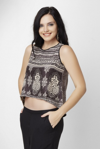 GLOBAL DESI Printed Round Neck Sleeveless Crop Top