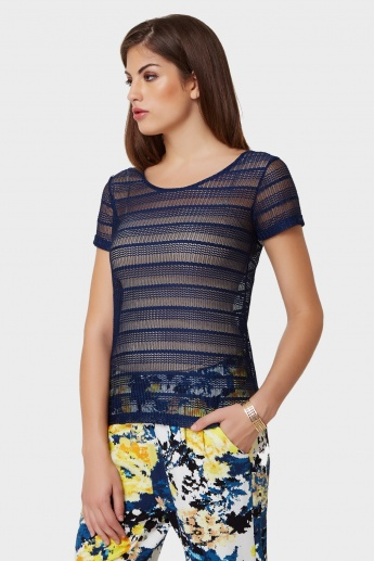BOSSINI Sheer Net Short Sleeves Top
