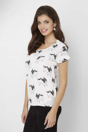 GINGER Dog Printed Round Neck Top