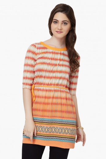 FUSION BEATS Printed Waist Tie-Up Kurti