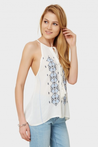 GINGER Halter Neck Embroidered Bohemian Top