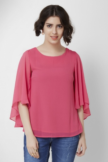 AND Bat Sleeves Layered Cut-Out Top